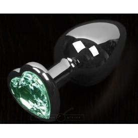 Графитовая анальная пробка с зеленым кристаллом в виде сердечка - 8,5 см.
