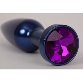 Большая синяя анальная пробка с фиолетовым стразом - 11,2 см.